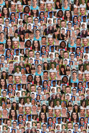 refugees: Collection of young people background collage large group smiling faces social media