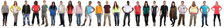 multi racial: Group of young people smiling happy multicultural multi ethnic full body portrait standing in a row isolated on a white background Stock Photo