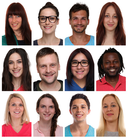 multi racial groups: Collection group portraits of multiracial young smiling people faces isolated on a white background
