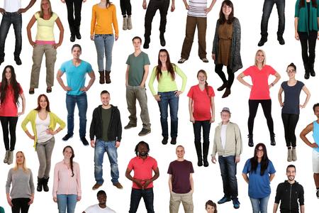 the whole body: Large multi ethnic group of smiling people background isolated on white