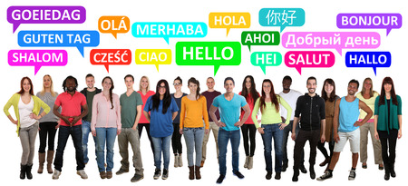 multi racial: Hello multi ethnic group of smiling young people saying in different languages