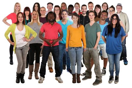 Grand groupe de jeunes gens qui sourient, debout, isolé sur un fond blanc Banque d'images