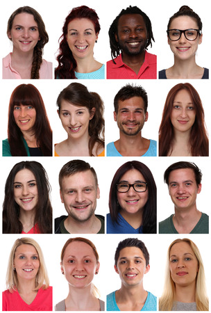 multi racial groups: Group portraits of multiracial young smiling people isolated on a white background