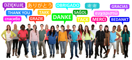 multi racial groups: Thank you saying multi ethnic group of young people in different languages