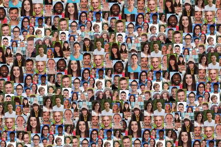 Young people background collage large group of smiling faces social media