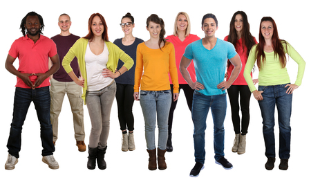 multi racial groups: Group of smiling standing young people integration multi ethnic isolated on a white background