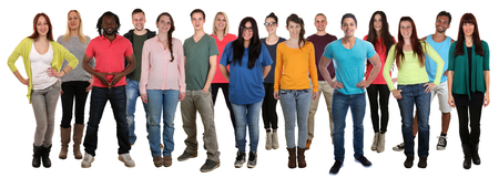 Large group of smiling standing young people happy multi ethnic isolated on a white background