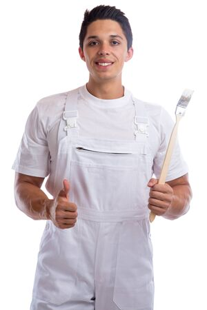 trainee: Young house painter and decorator apprentice thumbs up trainee man job isolated on a white background Stock Photo