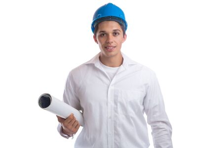 bocetos de personas: Architect with plan occupation job isolated on a white background Foto de archivo