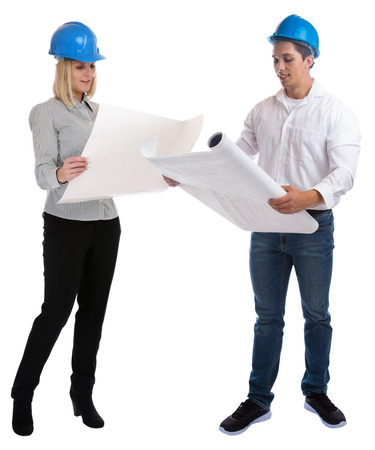 the whole body: Young architects reading plan full body portrait standing occupation job isolated on a white background
