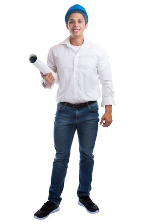 the whole body: Young architect with plan standing full body occupation job isolated on a white background