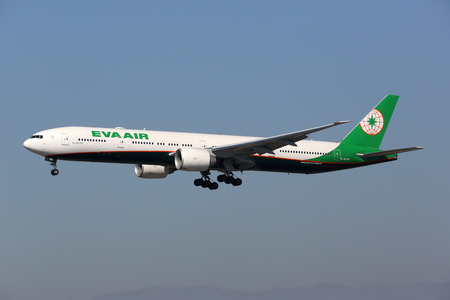 Los Angeles, USA - February 21, 2016: An EVA Air Boeing 777-300ER with the registration B-16726 landing at Los Angeles International Airport (LAX) in the USA. EVA Air is an airline from Taiwan headquartered in Taipei.