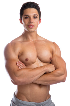 upper body: Bodybuilder bodybuilding muscles strong muscular upper body young man isolated on a white background