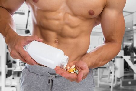 human body substance: Doping anabolic pills bodybuilder bodybuilding muscles fitness studio gym strong muscular man