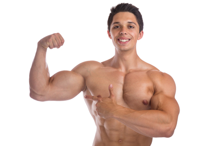 shirtless male: Muscles biceps bodybuilder bodybuilding flexing strong muscular young man isolated on a white background Stock Photo