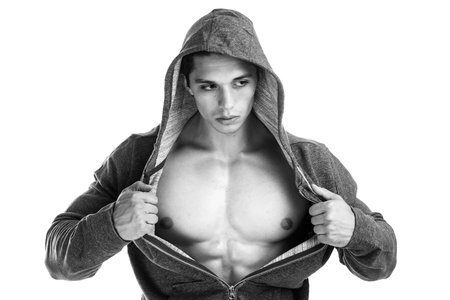 black guy: Bodybuilder strong muscular young man hoodie muscles black and white body builder isolated on a white background