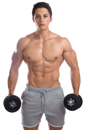 isolated man: Bodybuilder bodybuilding muscles strong muscular young man dumbbells training isolated on a white background Stock Photo