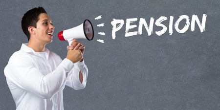 business funds: Pension retirement business concept young man megaphone bullhorn Stock Photo