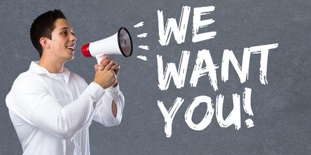 part of me: Queremos que puestos de trabajo, los empleados que trabajan de contratación de empleo concepto de negocio carrera joven megáfono megáfono Foto de archivo