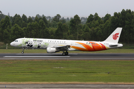 livery: Chengdu, China - May 15, 2016: An Air China Airbus A321 with the registration B-6365 and the special livery Sichuan Panda approaches Chengdu International Airport (CTU) in China. Air China is the flag carrier airline of China based in Beijing.
