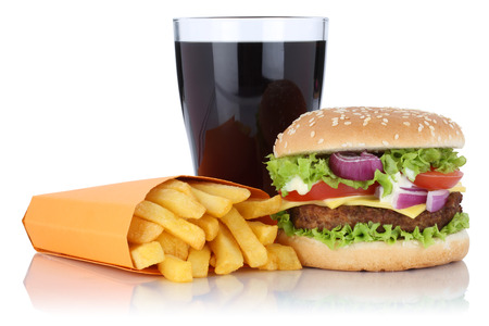 combo: Cheeseburger hamburger and fries menu meal combo cola drink isolated on a white background