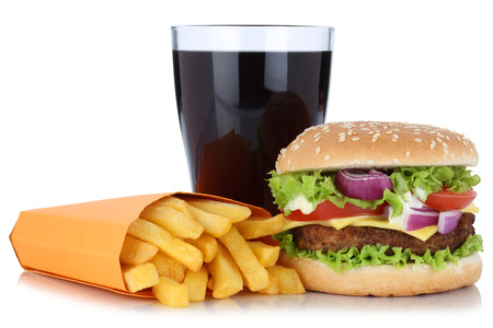 combo: Cheeseburger hamburger and french fries menu meal combo cola drink isolated on a white background