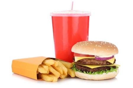 comida rapida: hamburguesa con queso y papas bebida combinada de la comida menú doble aislado en un fondo blanco Foto de archivo