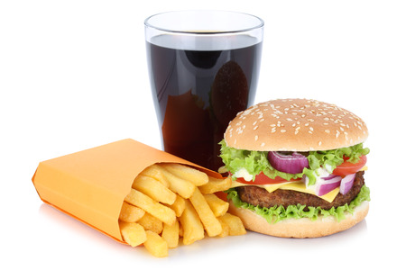 combo: Cheeseburger hamburger and french fries menu meal combo cola drink fast food isolated on a white background Stock Photo