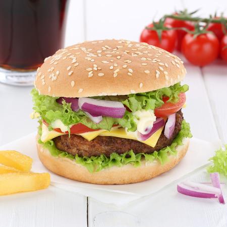 fast meal: Cheeseburger hamburger burger menu meal combo cola drink fast food Stock Photo