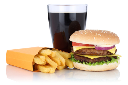 combo: Double cheeseburger hamburger and fries menu meal combo cola drink isolated on a white background