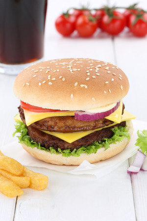 fast meal: Double cheeseburger hamburger menu meal combo cola drink fast food