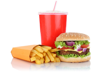 fast meal: Cheeseburger hamburger and fries menu meal combo fast food drink isolated on a white background