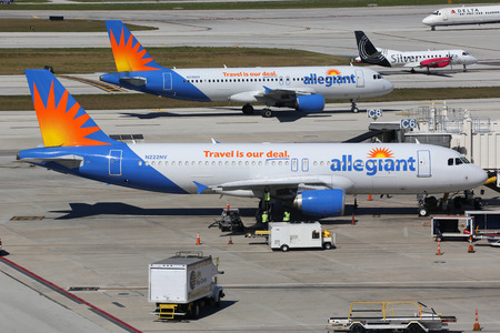 Fort Lauderdale, United States - February 17, 2016: Allegiant Air airplanes taxi at Fort Lauderdale Airport (FLL) in the United States. Allegiant Air is an American low-cost airline with its headquarters in Las Vegas.