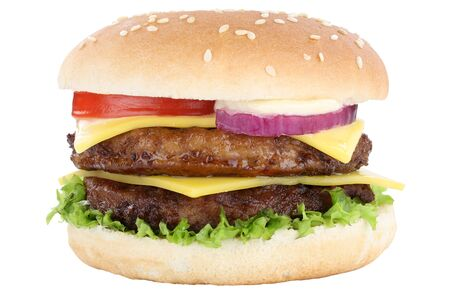 Double cheeseburger hamburger burger tomatoes lettuce cheese isolated on a white background