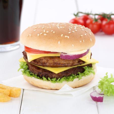 fast meal: Double cheeseburger hamburger burger menu meal combo cola drink fast food Stock Photo