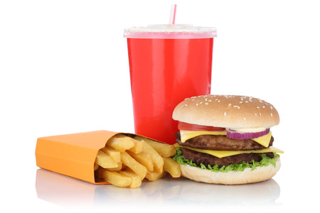 combo: Double cheeseburger hamburger and fries menu meal combo fast food drink isolated on a white background