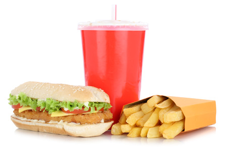 combo: Chickenburger chicken burger hamburger and fries menu meal combo drink isolated on a white background