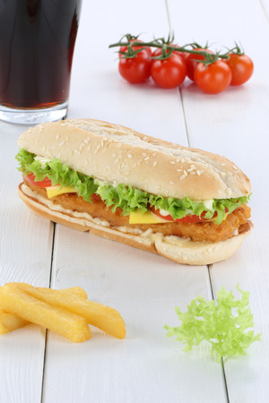 fast meal: Chickenburger chicken burger hamburger menu meal cola drink fast food