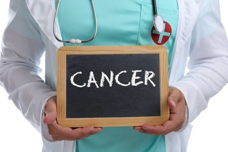 Cancer disease ill illness diagnosis awareness therapy young doctor with sign Archivio Fotografico