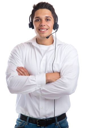 telephone call: Young smiling man with headset telephone phone call center agent business isolated on a white background