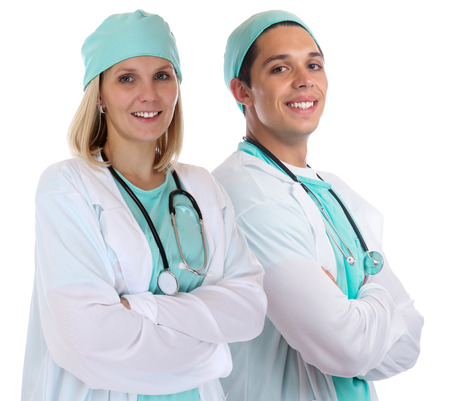 doctors smiling: Doctor team young doctors portrait smiling occupation job isolated on a white background