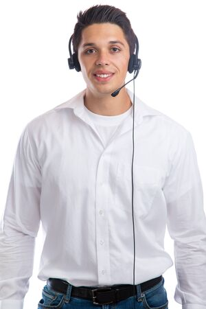 telephone call: Young man with headset telephone phone call center agent business isolated on a white background