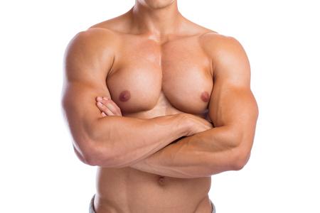 upper body: Bodybuilder bodybuilding chest muscles upper body builder building strong muscular man isolated on a white background