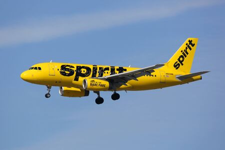 Los Angeles, United States - February 19, 2016: A Spirit Airlines Airbus A319 with the registration N503NK landing at Los Angeles International Airport (LAX) in the United States. Spirit Airlines is an American low-cost airline with its headquarters in Fo
