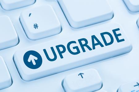 programmes: Upgrade upgrading software program symbol blue computer keyboard