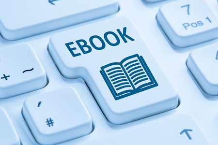ordering: Ordering E-book Ebook download internet symbol blue computer keyboard Stock Photo