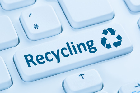 computer button: Recycling button recycle natural conservation symbol blue computer keyboard