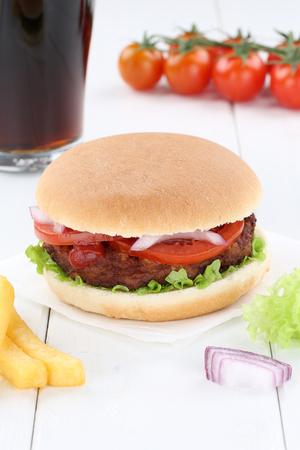 fast meal: Hamburger menu meal combo cola drink fast food