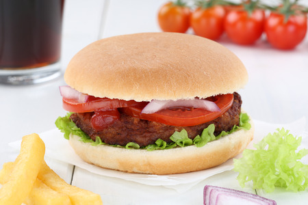 fast meal: Hamburger menu meal combo cola drink sandwich fast food Stock Photo