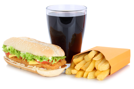 fast meal: Chickenburger chicken burger hamburger french fries menu meal combo cola drink fast food isolated on a white background